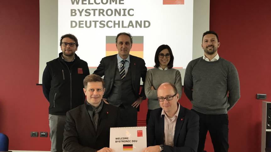 Paolo Maccarana (Head of Epxerience Center, TTM Laser), Stefano dal Lago (Head of Sales, TTM Laser), Erika Carbone (Sales Support TTM Laser), Davide Rebessi (Area Sales Manager, TTM Laser), Marcus Stickel (Vetriebsleiter Bystronic Deutschland) und Axel Berg (Authorized Sales Partner Tube)